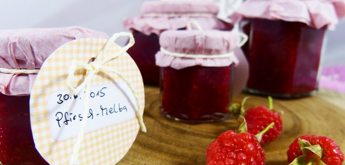 Köstliche Pfirsich-Melba Konfitüre