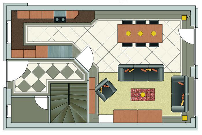 Grundriss des Wohnzimmers