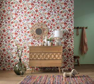 weiße Tapete mit roten Mohnblumen
