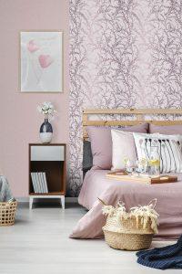 Rosa Tapete mit Kischblüten Zweigen