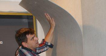 Flexible Betonplatte einfach an die Wand kleben